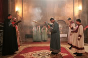 Father Ter-Hovhannes leading the Holy Mass at Gandzasar's Cathedral of St. John the Baptist.